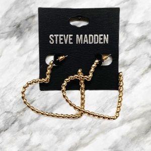 Steve Madden Gold Heart Hoop Earrings/NWT